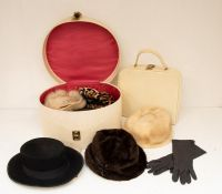 Vintage clothing and textiles - a pair of men's RayBan sunglasses; fur stoles; hats; bow ties;