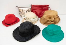 A collection of vintage ladies hats to include a Christian Dior straw cloche style hat with