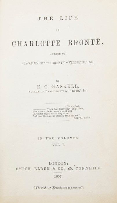 ***OBJECT LOCATION BISHTON HALL ***Gaskell, Elizabeth. The Life of Charlotte Bronte, first edition, - Image 8 of 10