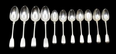 A suite of George III silver fiddle pattern flatware/spoons, maker William Chawner II, London