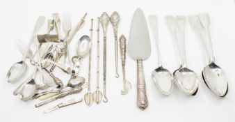 Assorted silver flatware, spoons, forks, dressing table silver, (some with loaded handles),