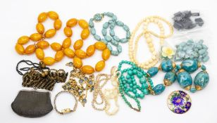 A 1930's butterscotch phenolic bead necklace, together with various other costume beads and