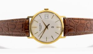 Mappin & Webb, a 1980's gents 9ct gold Mappin & Webb wristwatch, 3cm circular champagne dial with