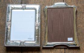 A modern silver framed easel photograph frame, of Edwardian design with beadwork border, Britannia