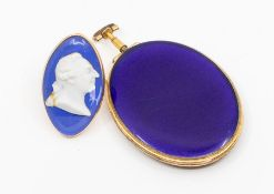 A George III oval mourning pendant locket, one side inset with plaited hair, the other of deep
