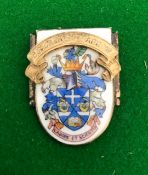 Political Interest, a silver-gilt and enamel presentation shield-shaped badge, the silver-gilt