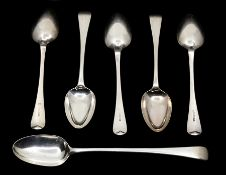 A set of five of George III old English pattern table spoons, maker William Eley & William Fearn,