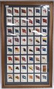 Kensitas cigarette silks of British Empire Flags, 48 in glazed and gilt frame. 30 x 18 inches.