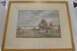 Thomas Bush Hardy (British, 1842-1897), 'Longham Club', fisher folk bringing in the catch, signed