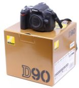 Nikon: A boxed Nikon D90 camera body, within original box, untested for working order, camera body