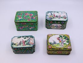 A collection of four Chinese enamel Qing dynasty boxes