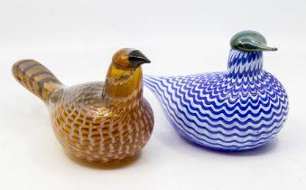 Oiva Toikka (Finnish, b.1931) for Iittala Art Glass two glass birds possibly Teals (2) Provenance