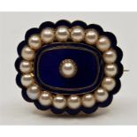 A 19th century precious yellow metal, indigo guilloche enamel and cultured pearl set mourning
