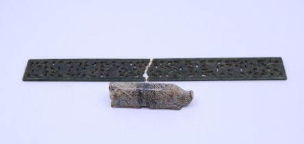 A Chinese Jade ruler in archaic style and a Chinese Ming style jade pig The ruler has snapped in