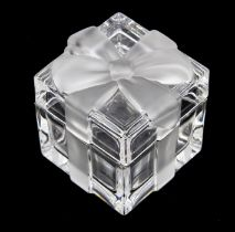 Tiffany & Co- a crystal glass box in the form of a wrapped gift, in clear and frosted glass, size