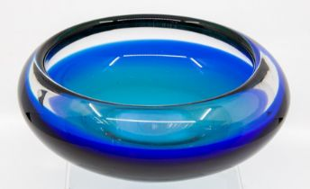 A Murano blue glass bowl, labelled V Nason & Co., Provenance Baroness Boothroyd