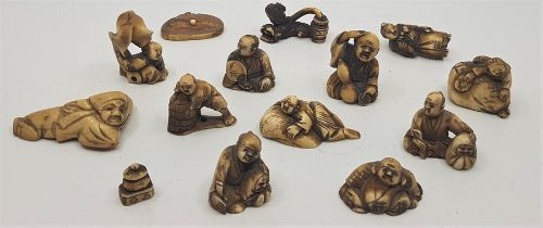A collection of Japanese Meiji period netsuke, and others. (14)