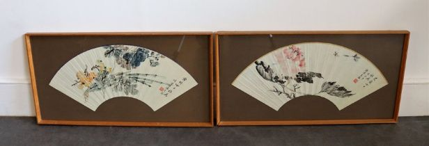Two framed Chinese fans with hand painted flowers accompanying Chinese poems Provenance Baroness