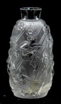 A Lalique Femme Fleurs bud vase Circa 1998, comprising frosted moulded glass with floral decoration