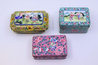 A collection of three Qing dynasty Chinese Canton enamel boxes,