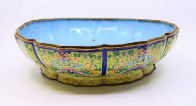 A large Yellow ground Chinese Qing dynasty butterfly bowl , lacking cover
