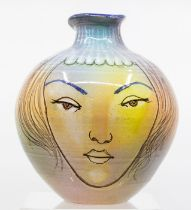 A Cuban Studio pottery vase, painted with male and female portraits signed Drake Provenance