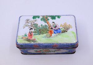 A Chinese enamel powder blue ground enamel box and cover, Qianlong mark to base