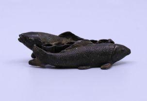A Japanese bronze model of a carp