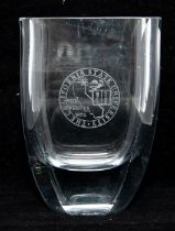 An American glass vase, etched with California State University arms, stamped BLOCK to base