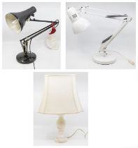 Three various desk lamps, two anglepoises circa 1970s, the other faux marble baluster shape (3)