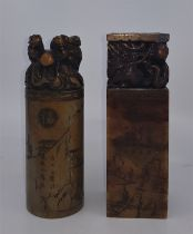 Two Chinese carved soap stones, the tallest 14.9cm. (2)