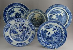 A group of early nineteenth century blue and white transfer-printed plates, c. 1810-20. To