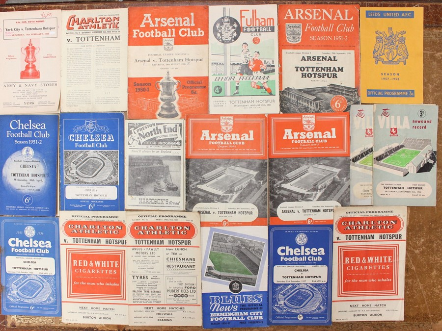 A collection of assorted 1950's football programmes, mostly of Tottenham Hotspur away interest to