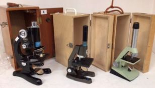 A cased Beck Student Microscope; together with a cased Tecnar Swift microscope, Made in England; and