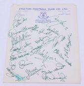 A signed Everton Football Club letterhead, early 1970's, comprising approximately 15 signatures of