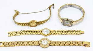 A collection of four gold plated vintage ladies dress watches, to include Mappin & Webb, Bulova,