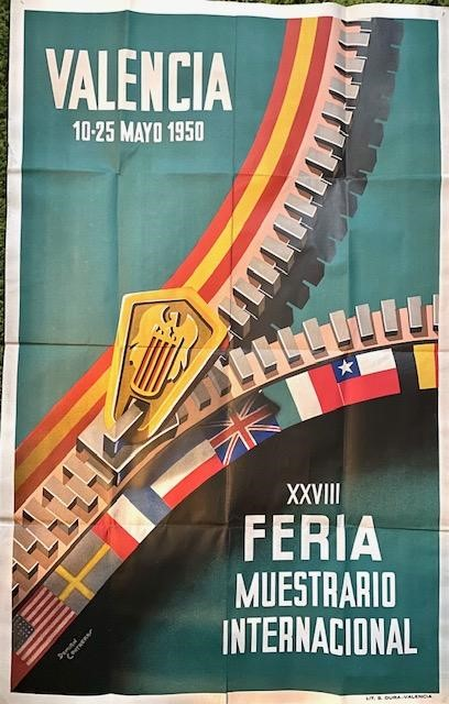 """Damian Contreras (20th Century). Valencia poster, c.1950, 20"""" by 25"""". Well-preserved, vibrant"""