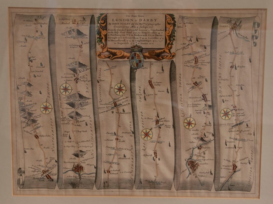 Saxton & Hole. Map of Derbyshire, [c.1637], hand-coloured copper engraving on laid/chain-lined