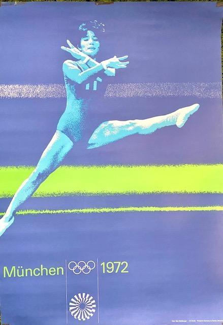 Otl Aicher (German, 1922-1991). Munich Olympics poster, Munchen 1972, 84cm by 60cm. Vibrant colours,