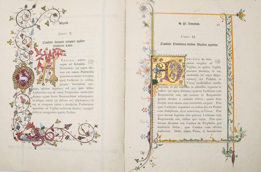 Illuminated. Regula S. Patris Benedicti, published by Stanbrook, Wigorniae, Ex Typis Abbatiae B.M.V. - Image 2 of 5