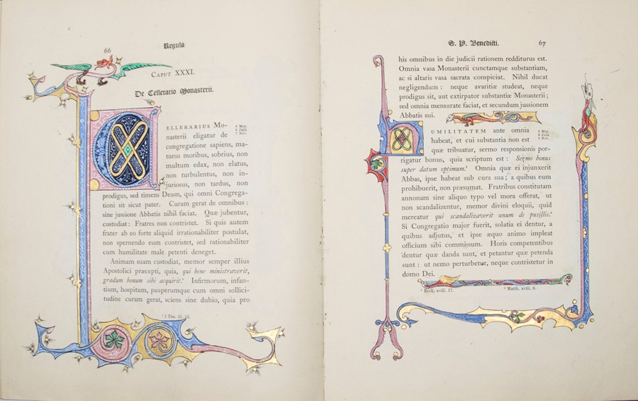 Illuminated. Regula S. Patris Benedicti, published by Stanbrook, Wigorniae, Ex Typis Abbatiae B.M.V. - Image 3 of 5