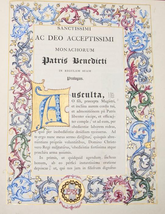 Illuminated. Regula S. Patris Benedicti, published by Stanbrook, Wigorniae, Ex Typis Abbatiae B.M.V.