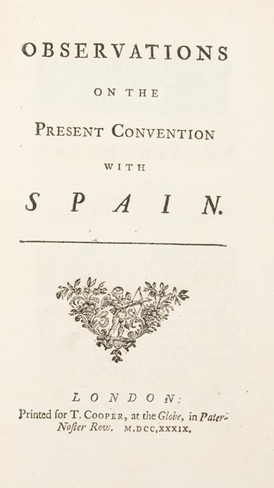 [Robins, Benjamin]. Observations on the Present Convention with Spain, London: T. Cooper, 1739. - Image 2 of 2