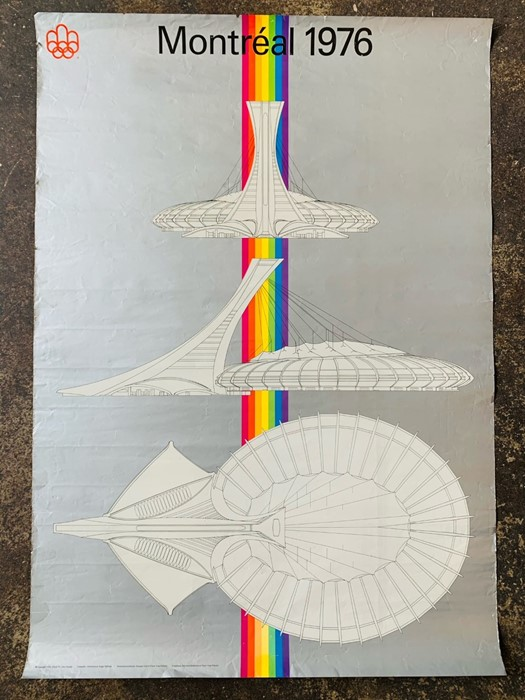 Montreal 1976 Olympics poster, Litho Canada, 59cm by 84cm. Vibrant colours/silver finish, light
