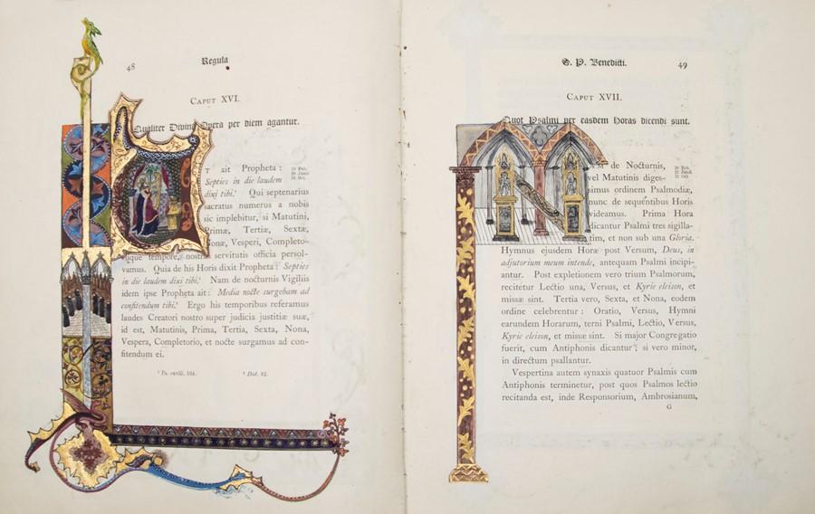 Illuminated. Regula S. Patris Benedicti, published by Stanbrook, Wigorniae, Ex Typis Abbatiae B.M.V. - Image 4 of 5