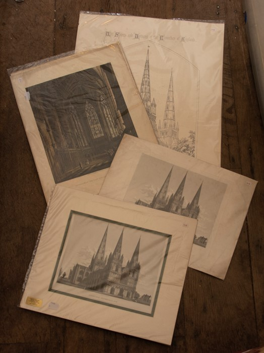 Lichfield. Collection of architectural and topographical prints of Lichfield Cathedral, - Image 3 of 3