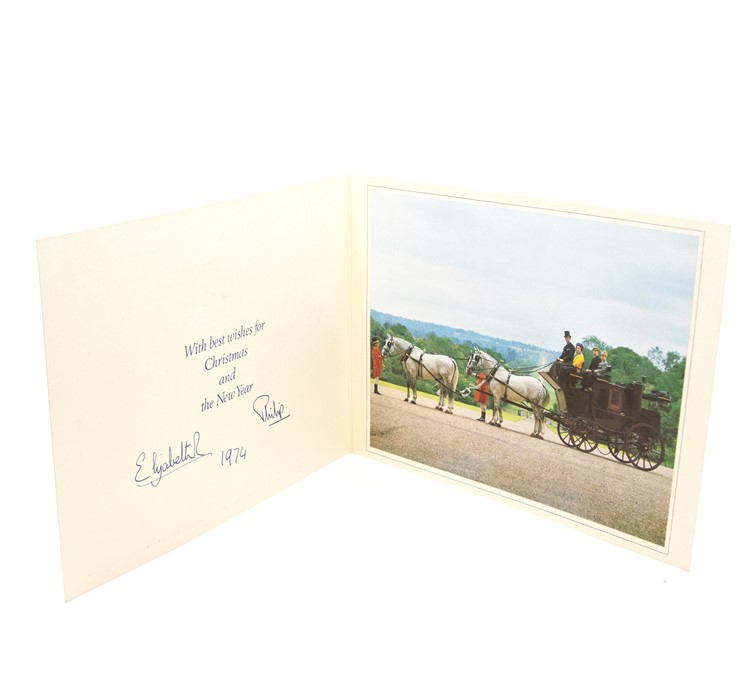 HM Queen Elizabeth II and HRH Prince Philip. Christmas card, 1974, [autopen] signed and dated in