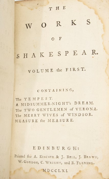Shakespeare, William. The Works, six volumes [of eight], Edinburgh: Kincaid & Bell, 1761, worn - Image 2 of 2