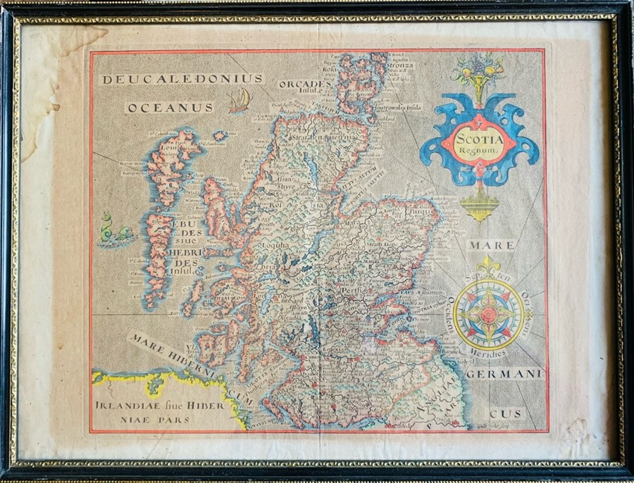 Hole, William. Map of Scotland, [1610 or later], hand-coloured copper engraving on laid paper, 29.