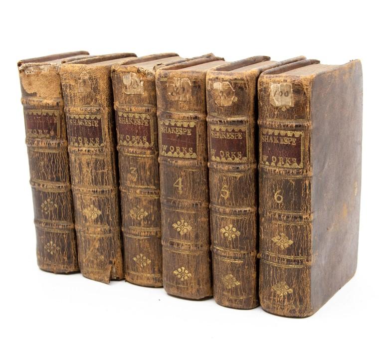 Shakespeare, William. The Works, six volumes [of eight], Edinburgh: Kincaid & Bell, 1761, worn